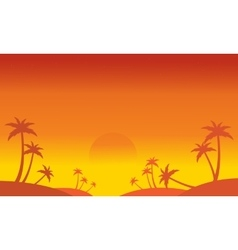 Silhouette of palm on the hill scenery vector