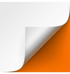 Curled corner of white paper on orange background vector
