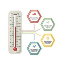 Infographic with medicine thermometer vector
