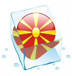 Frozen button flag of macedonia vector