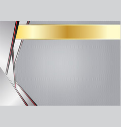 Abstract sharp metallic aluminum with gold frame vector