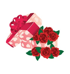 Roses in heart shaped box vector