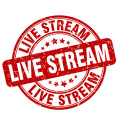 Live stream red grunge stamp vector