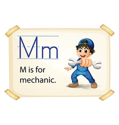 A letter m for mechanic vector