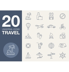 Vacation icons blue line contour series vector