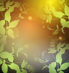 Glare green leaves on a black background round vector