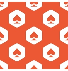 Orange hexagon spades pattern vector