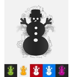 Christmas snowman paper sticker with hand drawn vector