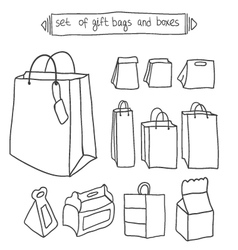 Set of gift bags and boxes vector