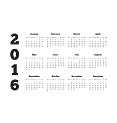 Calendar on 2016 year with week starting from vector
