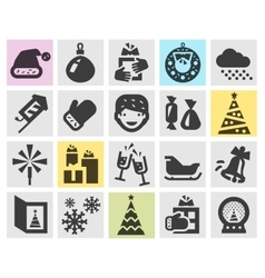 Christmas and new year set black icons signs and vector