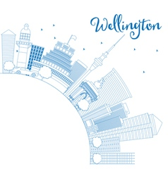 Outline wellington skyline with blue buildings vector