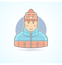 Warm dressed man snowboarder skier icon vector