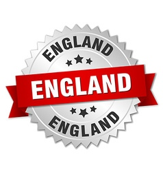 England round silver badge with red ribbon vector