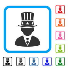 American capitalist framed icon vector