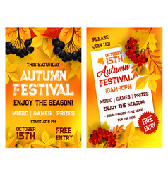 autumn festival poster of leaf fall vector image