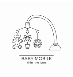 Baby crib hanging toy line icon vector