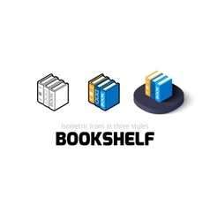 Bookshelf icon in different style vector image
