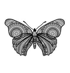 Butterfly with floral ornamental wings butterfly vector