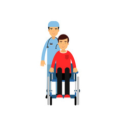 cartoon flat character of doctor with patient in vector image vector image