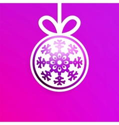 Christmas ball cutted from paper on red EPS8 vector image vector image