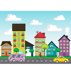 Colorful houses on the street vector image