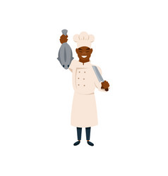 cook character with knife and fish in hands vector image vector image