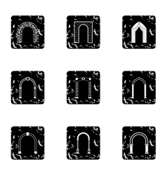 Different arches icons set grunge style vector