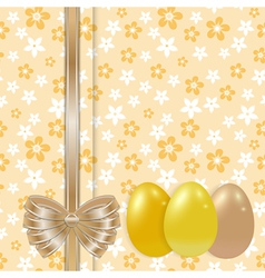 easter card template with bow gold vector image