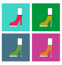 Flat icon design collection female heel silhouette vector
