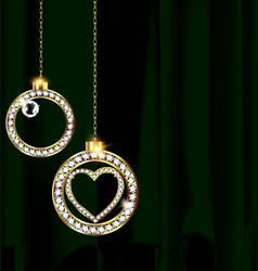 Green drape and jewelry christmas balls vector