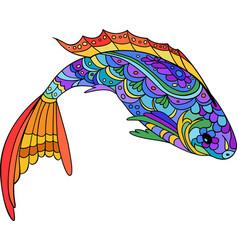 Hand drawn stylized sea fish zen-doodle style art vector