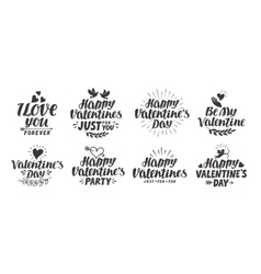 Happy Valentine s day Collection beautiful labels vector image
