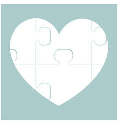 Heart with puzzle the white color icon vector
