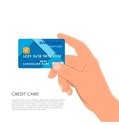 Human hand holding bank credit card financial and vector