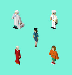 isometric people set of seaman female vector image