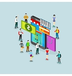 Isometric sale with phone and people vector