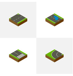 Isometric way set of pedestrian plash way and vector