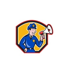 Policeman shouting bullhorn shield cartoon vector