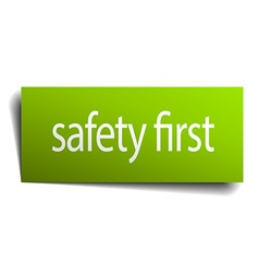 Safety first square paper sign isolated on white vector