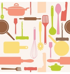 Seamless pattern of kitchen tools vector