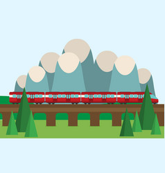 Train on railway travel concept background vector