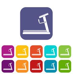 Treadmill icons set vector