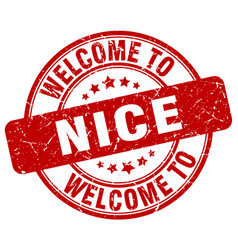 Welcome to nice red round vintage stamp vector
