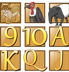 Wild animals and numbers on square buttons vector