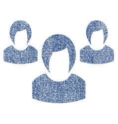Woman group fabric textured icon vector