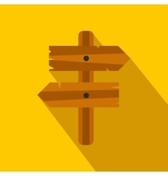 Wooden direction arrow sign flat icon vector