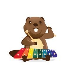 Musical animals beaver vector