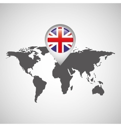 great britain flag pin map design icon vector image