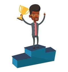 Businessman proud of his business award vector